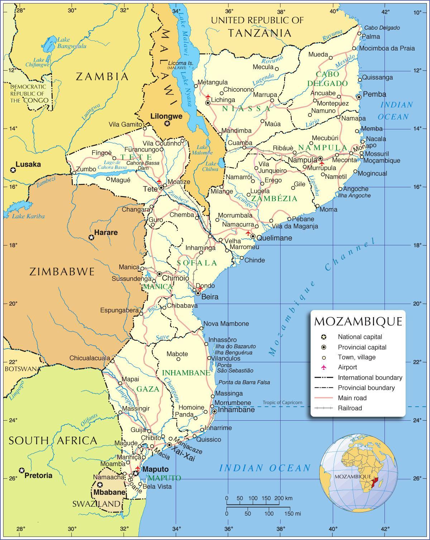 Mosambik Joen Kartta Mosambik Joet Kartta Ita Afrikka Ja Afrikan