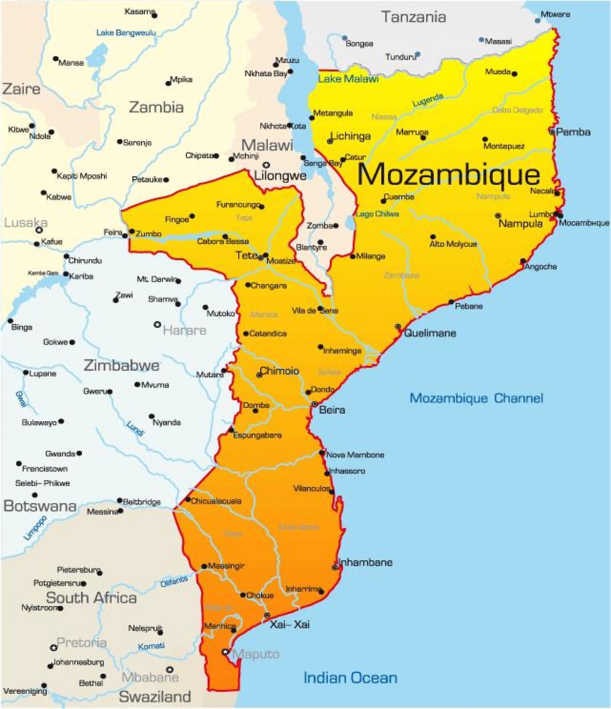 Mosambikin Kartta Kartta Mosambik Ita Afrikka Ja Afrikan