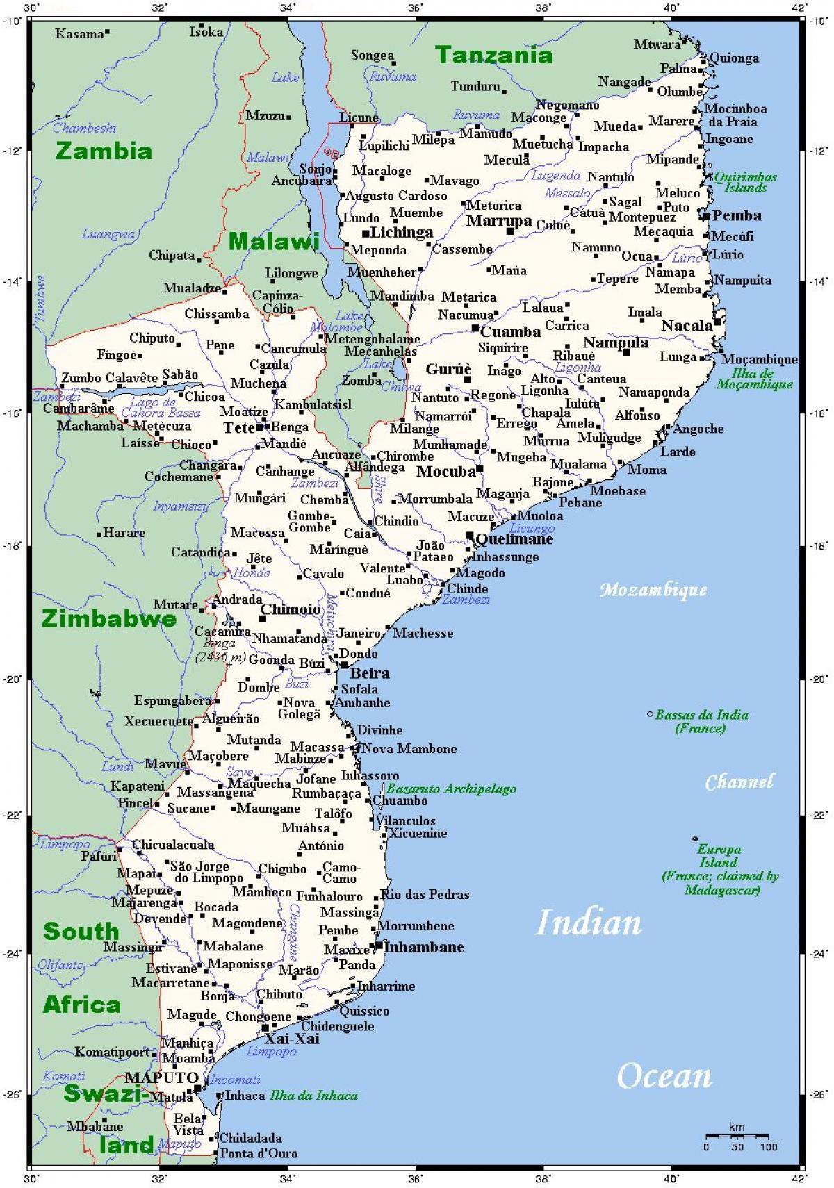 Mosambikin Kaupunkien Kartta Kartta Mosambik Kaupungeissa Ita
