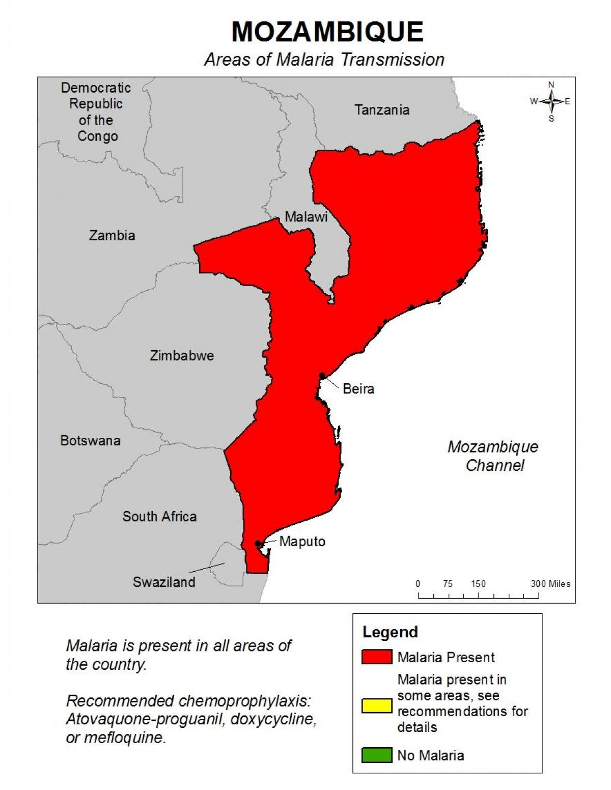 Mosambikin Malaria Kartta Kartta Mosambik Malaria Ita Afrikka